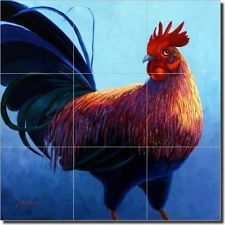 Senkarik Rooster Art Ceramic Tile Mural Backsplash 12.75