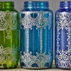 Bohemian Vase or Lantern, Silver Metal Accented Eclectic Home Decor, Choose One Boho Vessel in Peridot, Teal, or Blueberry, Mason Jar Decor  This