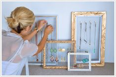 picture frames transformed to jewelry as art - wire mesh (so it's see thru)