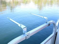 """Pontoon 1.25"""" rail mount bracket set for your BBQ grill. Enjoy your own BBQ grill mounted to your pontoon boat railing. Material is Solid Zinc electro-plated steel. Fits 1.25"""" Square tube boat rails."""