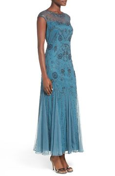 PISARRO NIGHTS ~ ~ Embellished Mesh Gown ||| NORDSTROM'S available in both BLUE-TEAL (pinned here) and also in dark plum. Length is definitely TRIP PROOF as it is more of a midi length, down about to the ankles. Offers beautiful side silhouette. Lovely gown.