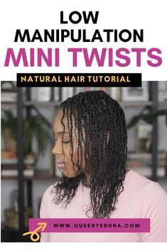 Mini twists are a great protective style for natural hair because it's really easy to do and depending on your hair texture you can keep them in for a while as well as wash and moisturize your hair with your mini twists. Click for a quick tutorial on how to achieve these twists #minitwists #naturalhairminitwists #lowmanipulationstyles #lowmanipulationnaturalhairstyles Fine Natural Hair, Natural Hair Care Tips, Curly Hair Tips, Cute Natural Hairstyles, Protective Hairstyles For Natural Hair, Hair Topic, Mini Twists, Natural Hair Tutorials, Organic Hair Care