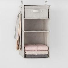 3 Shelf Hanging Fabric Storage Organizer Light Gray - Made By Design™ : Target Fabric Storage Bins, Fabric Bins, Hanging Storage, Clothes Storage, Closet Storage Systems, Closet Organization, Storage Spaces, Storage Ideas, Closet System
