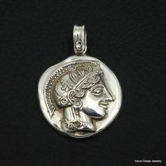 ATHENA GODDESS COIN PENDANT 925 STERLING SILVER GREEK HANDMADE ART LUXURY #IreneGreekJewelry #Pendant