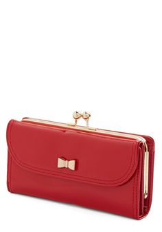 Coin a Phase Wallet. Lately, your style has been all about easy-going glam, so its no wonder this glossy patent wallet has found its way into your daily ensembles. #red #modcloth
