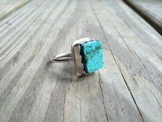Square Turquoise Stone Ring size 6.75 by LeafRiverJewelry, $58.00