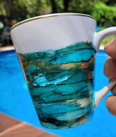 Hand Painted Mugs, Painted Cups, Crazy Day, Desert Sunset, Ocean Colors, Gold Highlights, Tropical Decor, Mug Shots, Jewel Tones