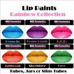 6 pc HD Lip Paint-Rainbow Collection
