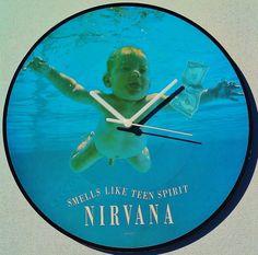 "VERY, VERY RARE NIRVANA  Smells Like Teen Spirit German Print 1991 PicDisc 12"" Record Clock by StarfishQuay on Etsy, $60.00"