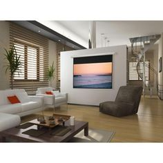 "Salara Matte White Electric Projection Screen Viewing Area: 31.5"" H x 56.5"" W"