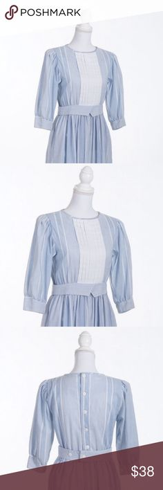 """v i n t a g e 70s Lanz Originals dress This dress is too kawaii for words. It's an adorable Lanz Originals from the 1970s. I love the button up back & attached peplum belt!   •true vintage  •made in USA  •50/50 polyester cotton  •mint condition   measurements  •size marked 5/6  •bust 34"""" •waist 26"""" •length 46""""  •sleeve length 16.5""""  🌈 All orders ship with 1-2 business days. No trades or holds. All photos  are original and of the exact item being sold. Dresses Midi"""