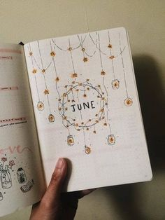 """My June """"intro"""" page. Tried to go for a fairy lights / starry theme. : bulletjournal My June """"intro"""" page. Tried to go for a fairy lights / starry theme. Bullet Journal Page, Bullet Journal Themes, Bullet Journal Spread, Bullet Journal Inspiration, Journal Pages, Journals, Journal Ideas, Notebooks, Kalender Design"""