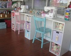 neat idea for my machines and I love those chairs!!!                                                                                                                                                      More