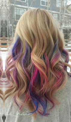 Blonde pink purple streak dyed hair @taylorrae_hair