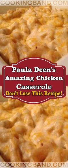 Paula Deen's Amazing Chicken Casserole Baked Chicken Recipes, Crockpot Recipes, Turkey Recipes, New Recipes, Cooking Recipes, Favorite Recipes, Recipies, Yummy Recipes, Cooking Tips