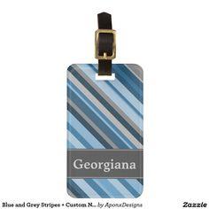 Blue and Grey Stripes + Custom Name Grey Stripes, Luggage Bags, Travel Style, Names, Blue, Gray Stripes, Gray Streaks