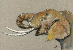 Elephant Head Africa Animal 8x5 Original Art Watercolor Painting by Juan Bosco | eBay