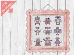 Robot family mini  cross stitch pattern от Sugaridoo на Etsy, €3.50