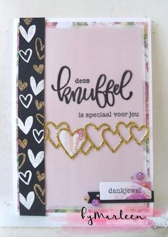 Handmade card by DT member Marleen with Creatables Lots of Love (LR0450) from Marianne Design