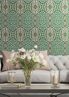 Coral Wallpaper, Accent Wallpaper, Dining Room Wallpaper, Wallpaper Ceiling, Bathroom Wallpaper, French Wallpaper, Funky Wallpaper, Spring Wallpaper, Tropical Wallpaper