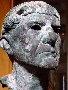 Bronze Bust of an older Roman man dated by his Trajan-style haircut 90-110 CE. Getty Villa in Malibu, California