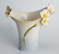 franz porcelain calla lily large tray platter