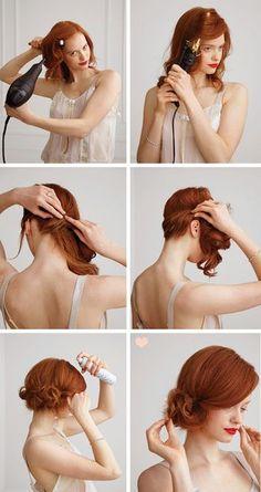 1.全体にゆるくカールを付けます。 2.少しずつ毛束をねじってサイドに持ってきて、ピンで留めます。 3.毛束を丸め込むようにしながらふんわりピンで留めて完成です。