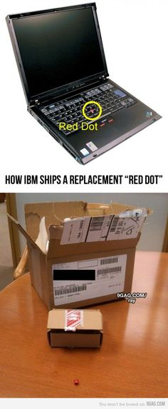 "How IBM ships a replacement ""Red Dot"" for the Thinkpad"
