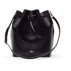 Lacoste Women`s Chantaco Leather Bucket Bag - Large Format ($265) ❤ liked on Polyvore featuring bags, handbags, shoulder bags, genuine leather purse, leather shoulder bag, shoulder strap handbags, genuine leather shoulder bag and 100 leather handbags