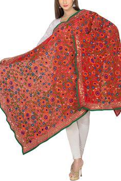 Scarlet Red & Green Georgette Phulkari Dupatta