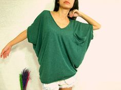 Forest Dark Green Women Blouse - Oversized Tee / Cozy Comfy Tee / Pocket Tee - Slouchy Baggy Ponco T shirt - V neck blouse / Batwing Tee.