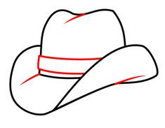 How to draw a cartoon cowboy hat