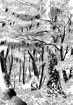 Ran to Haiiro no Sekai Manga Art, Anime Art, Comic Frame, Nature Illustration, Landscape Drawings, Comic Styles, Drawing Poses, People Art, Ink Art