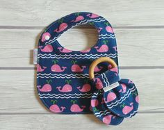 Baby Girl Nautical Bib and Teether Gift Set / Side Snap Baby Bib / Wooden Bunny Ear Crinkle Teether / Navy and Pink / Preppy Whales