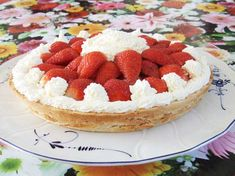 shortbread cake base with strawberries Paleo style