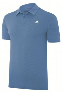 adidas Golf 2015 Tonal Stripe Mens Golf Polo Shirt - Left Chest Logo - Lucky Blue Features 50 UPF Protection Tonal All-Over Stripe Solid Woven