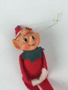 Vintage Xmas Tree Ornament: Japan Felt Knee Hugger Elf w/ Tush Tag #Unbranded