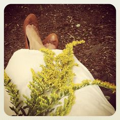 Home-sewn white linen dress, H(and)M leather flats, and a bouquet of goldenrod.