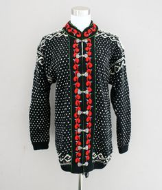 Dale of Norway  Wool Cardigan  Black and Red  by NoGritNoGlory