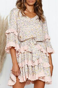 Φόρεμα RALIZA - Κοντά φορέματα   Ivet.EU Everyday Dresses, Dress Brands, Product Description, V Neck, Elegant, Lady, Mini, Pattern, Cotton
