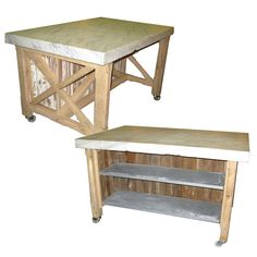 """Kitchen Island with Vintage Marble Slab 58"""" x 41"""" and Reclaimed Bead Board Base with Zinc Shelves"""