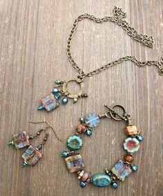 Glitter. Lampwork glass, Czech glass, bronze metal jewelry set. Necklace, earrings, bracelet.