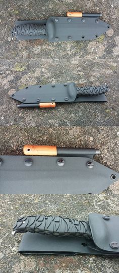 Kydex sheath for a CRKT Ultima 7 with detachable belt loop and fire steel holder. The fire steel has a Hawthorn handle with a hand peened copper lanyard tube