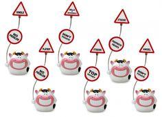 SODA COW MEMO 2 CLIP SEGNALI 6 VERSIONI. Mucca clip con ferma foto a calamita rappresentato da cartelli stradali di divieto in sei varianti