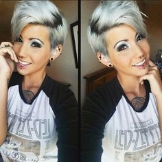 Grey hair or pixie cut? In this post you will find the best images of Pixie Haircut for Gray Hair that you will love! Hair trends come and. Long Pixie, Pixie Cut, Funky Hairstyles, Pretty Hairstyles, Pixie Color, Short Hair Cuts, Short Hair Styles, Haircut And Color, Pixie Haircut