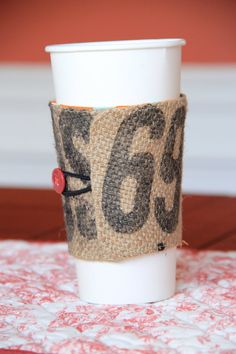 Coffee bag koozies on Etsy. Amy does a great job. Follow the link to purchase from her.