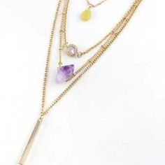 "18kgp layered amethyst, jade, crystal necklace 18k gold plated layered necklace with amethyst, jade, and crystal. Longest layer 24"". 2"" extender. Jewelry Necklaces"