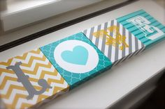 Digital Files. LOVE letters-- chevron, stripes, heart & quatrefoil