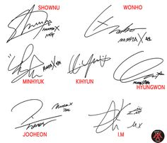 Monsta X signatures.  I have a Minhyuk <3 signed CD.  Now need to get one with all of them.