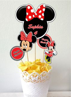 Minnie Mouse Centerpiece Minnie Mouse Cake Toppers by Printerama